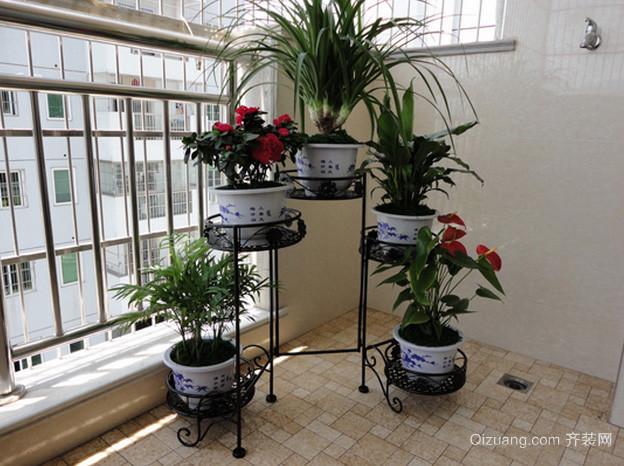 高层小区美式风格简约阳台花架装修效果图
