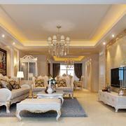 欧式大户型三居室客厅装修效果图