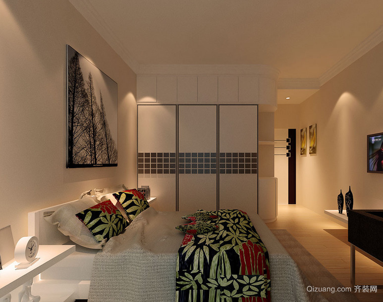 现代精致的大户型卧室背景墙装修效果图