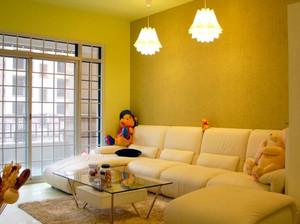 新古典风格简约暖色系客厅沙发装修效果图