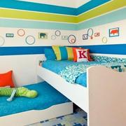 蓝色系清新简约风格儿童床装饰效果图