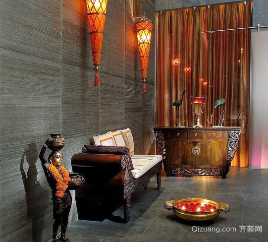 大型别墅东南亚风格玄关家具装修效果图