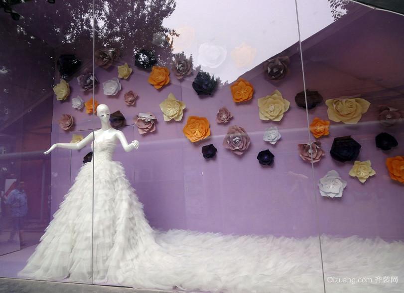 紫色梦幻大户型婚纱店橱窗设计效果图