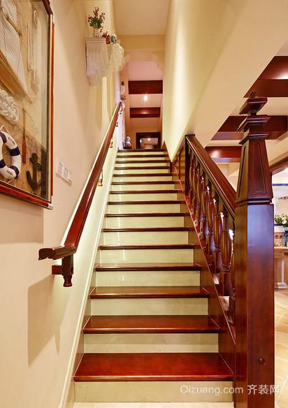 现代欧式大户型实木楼梯装修效果图