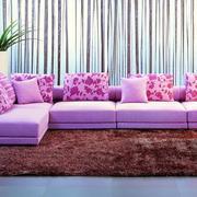 紫粉色简约沙发设计