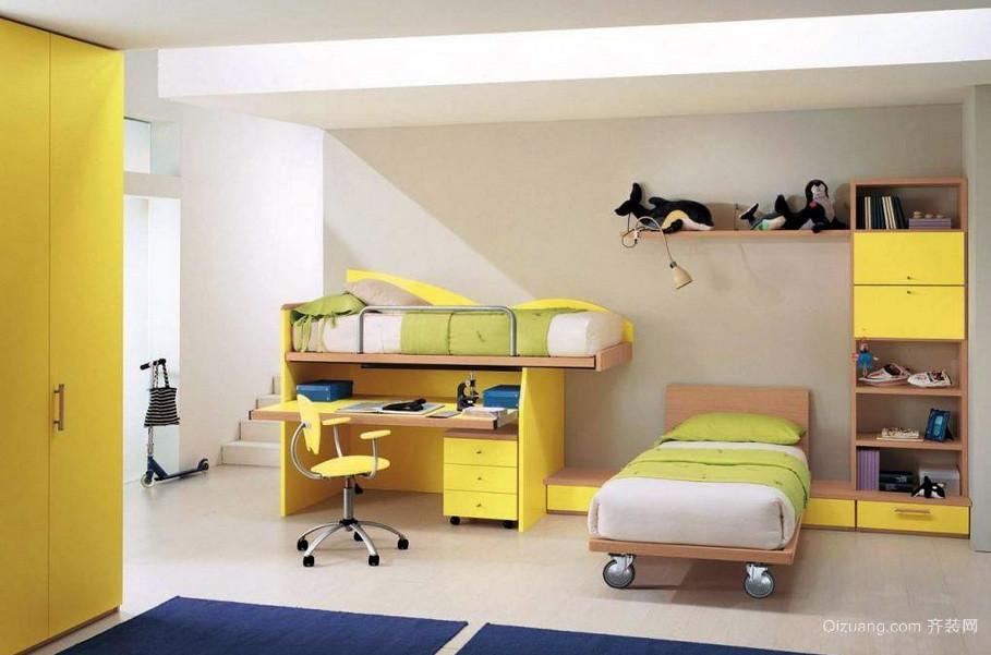 明亮黄色大户型儿童房家居收纳效果图