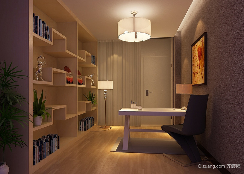现代精致的大户型小书房装修效果图