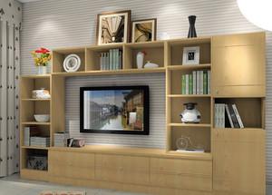 小户型公寓原木色电视组合柜效果图