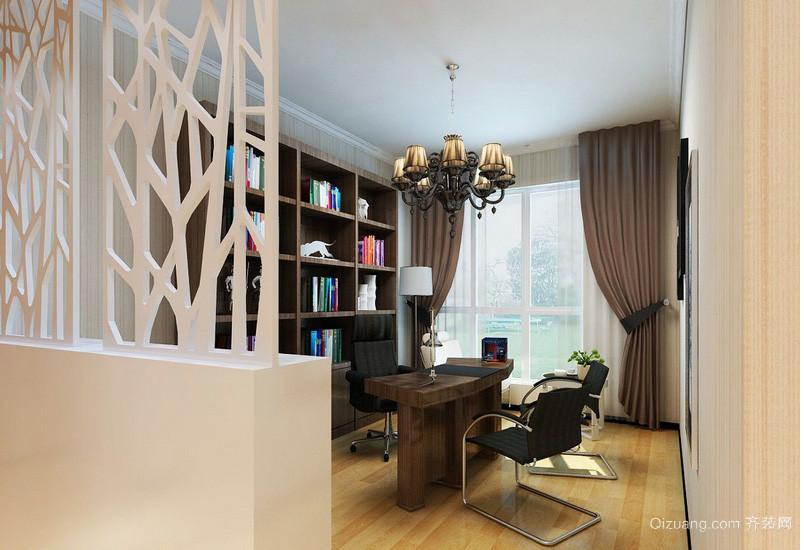 大户型新美式家装书房隔断装修效果图