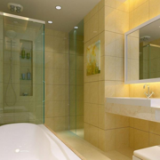 米白色简约小户型洗手间效果图