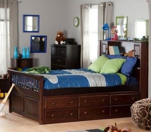 美式简约风格原木深色儿童床装修效果图