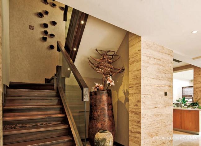 美式简约风格复式楼客厅楼梯装修效果图