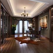 美式大型书房独特地毯装修效果图片