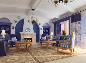 地中海简约客厅石膏板吊顶装饰