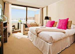 小户型美式混搭风格卧室落地窗装修效果图