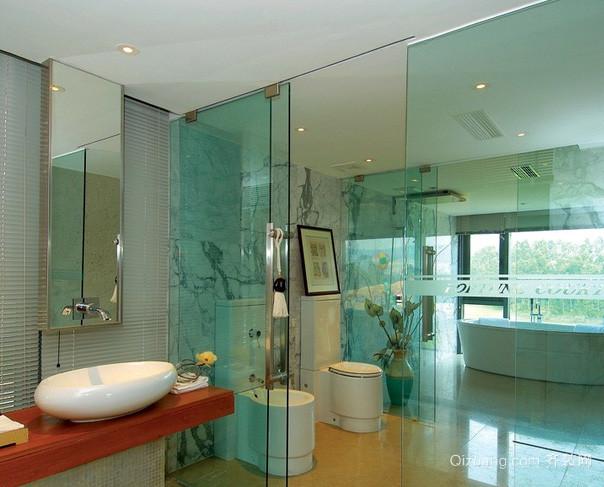 两室一厅现代简约风格卫生间玻璃推拉门装饰