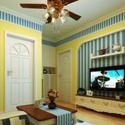 地中海风格公寓客厅电视组合柜效果图