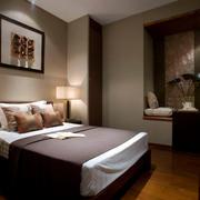 东南亚深色系卧室飘窗装饰