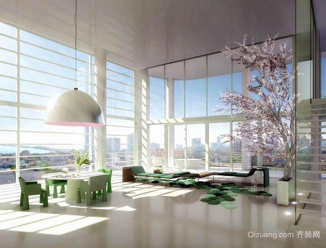 北欧风格清新阳光房客厅落地窗装修效果图