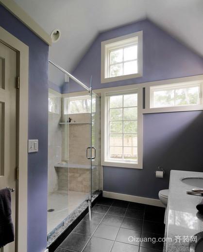 美式简约斜顶阁楼卫生间玻璃推拉门装饰