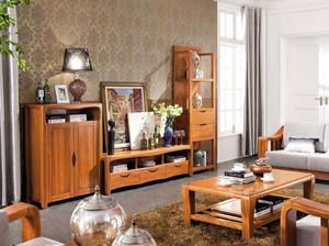 新中式客厅实木电视组合柜效果图