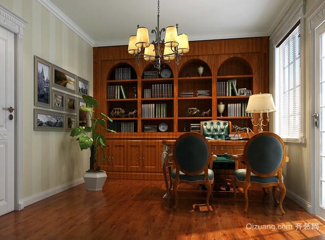 复式楼欧式风格深色系书房书柜效果图