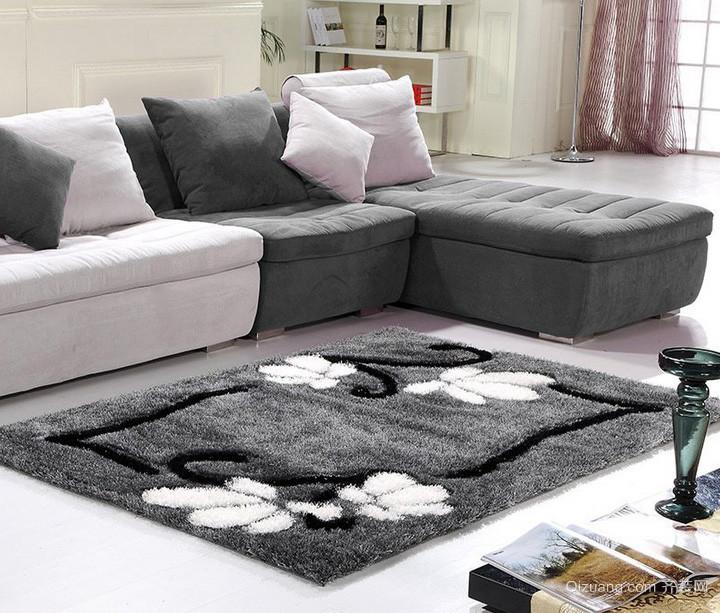 现代都市大公寓客厅黑色地毯效果图片