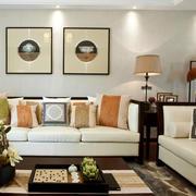 东南亚风格浅色系客厅沙发装修效果图