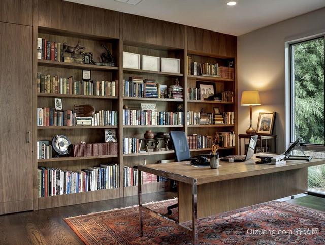 混搭风格跃层简约木制书柜装修效果图