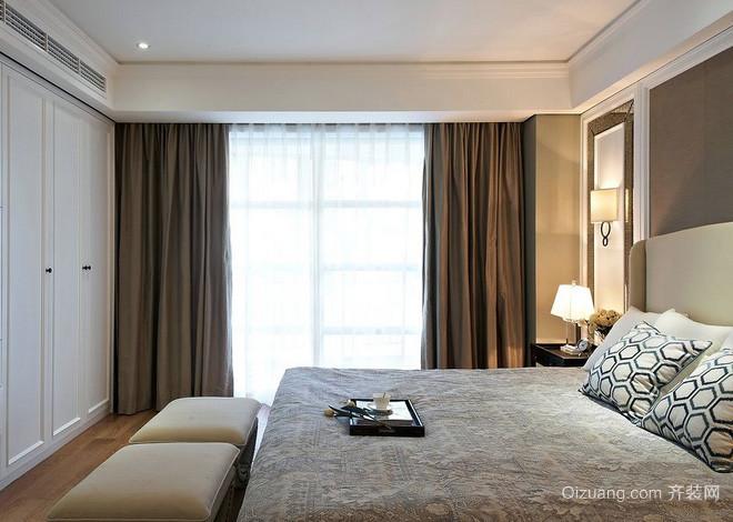 单身公寓简约风格卧室落地窗装修效果图