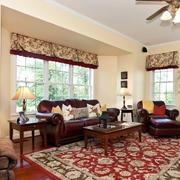 简约美式大别墅客厅地毯装修效果图片