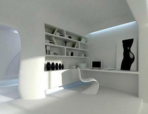 后现代风格白色浅色书房书柜装修效果图