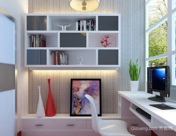 现代简约风格阳台书房书柜装修效果图