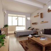 现代简约风格单身公寓客厅置物架装饰