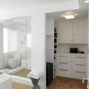 北欧风格纯白色卧室卫生间推拉门装饰