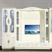 客厅简欧式米白色电视组合柜效果图