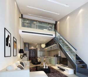 后现代风格客厅钢化楼梯装修效果图