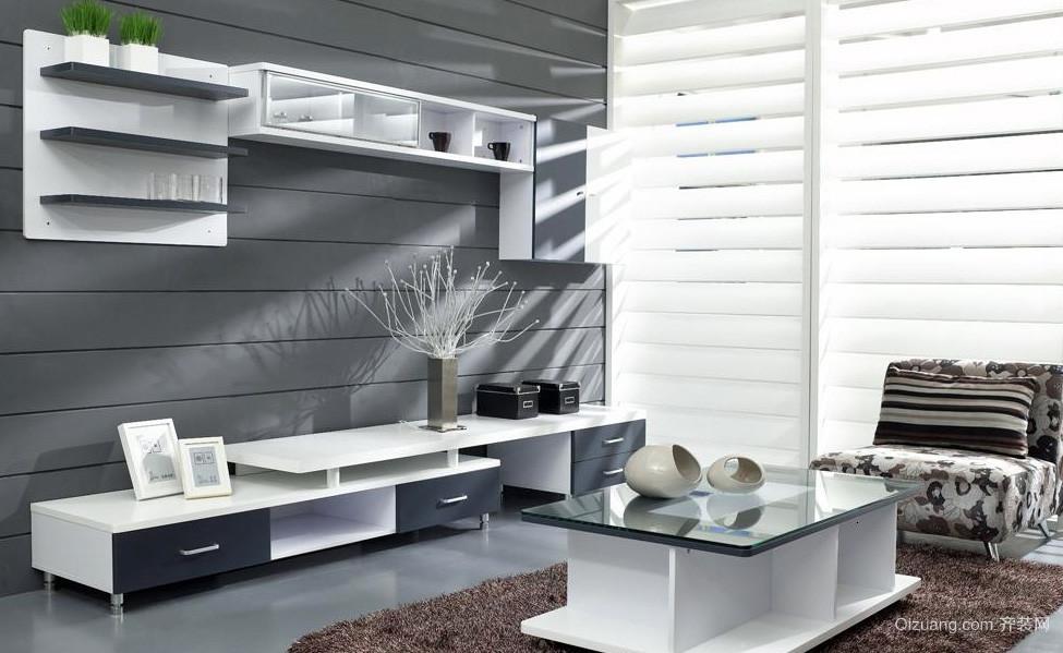 高冷男公寓客厅电视组合柜装修效果图