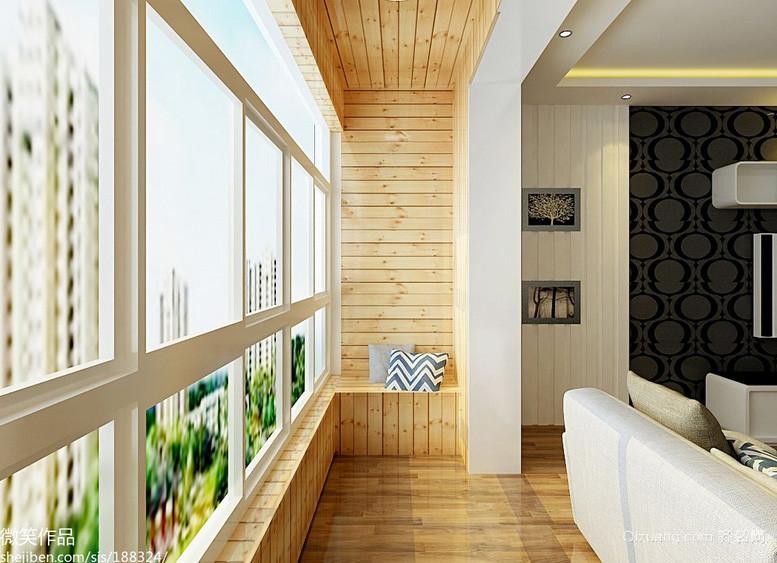 80平米清新风格阳台装修效果图