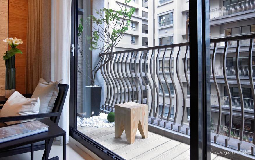 复式楼自然风格阳台装修效果图