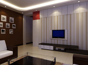 120平米精致型客厅电视背景墙效果图