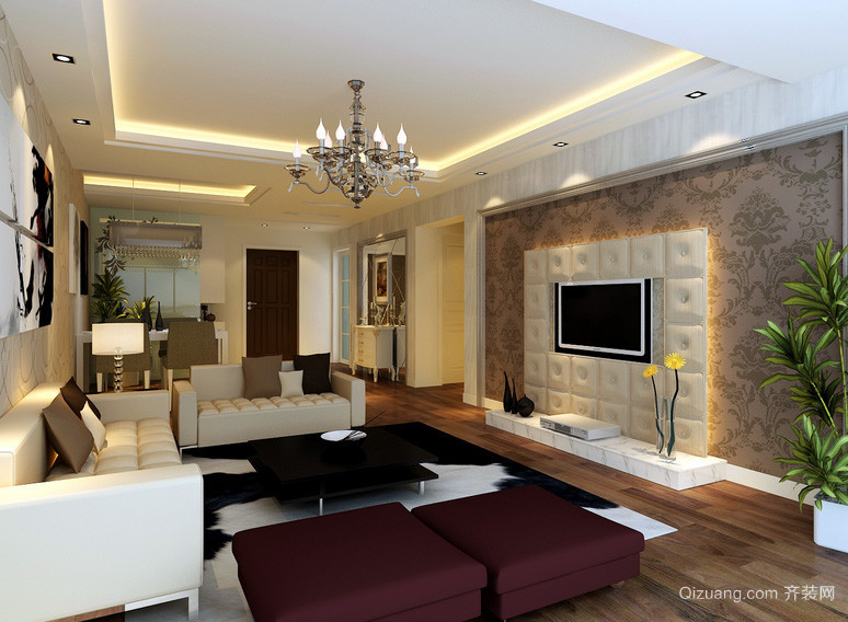 100平米深色调客厅电视背景墙效果图