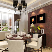 跃层暖色调餐厅背景墙效果图