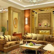 欧式奢华风格一层别墅效果图客厅装修图