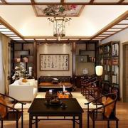 现代化中式风格古韵客厅博古架装修效果图