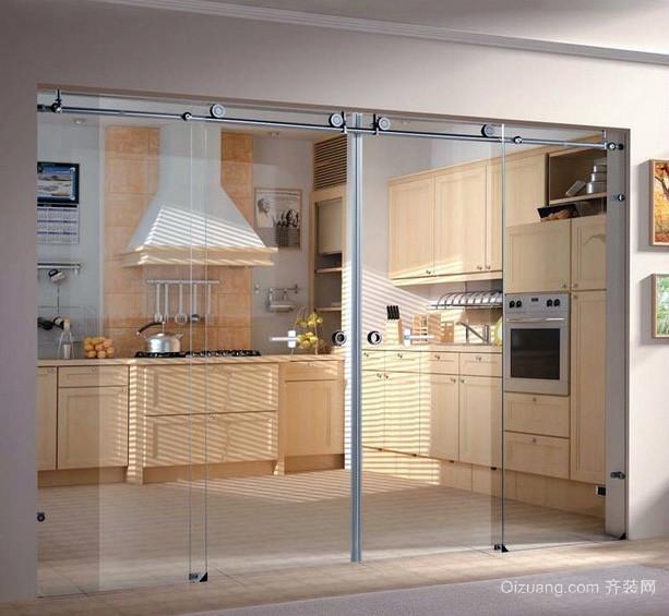 大户型别墅厨房玻璃隔断电动门效果图