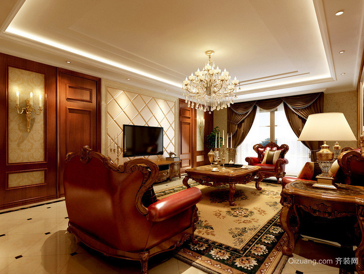 唯美的欧式大户型客厅装修效果图