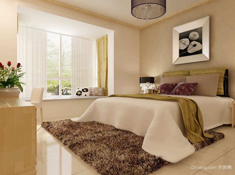 110平米大户型欧式卧室背景墙装修效果图