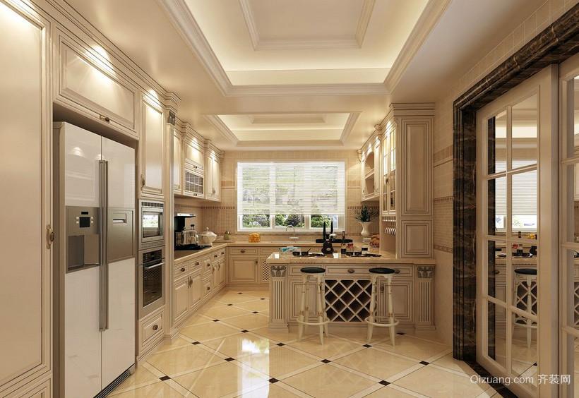 欧式豪华别墅厨房玻璃隔断装修效果图