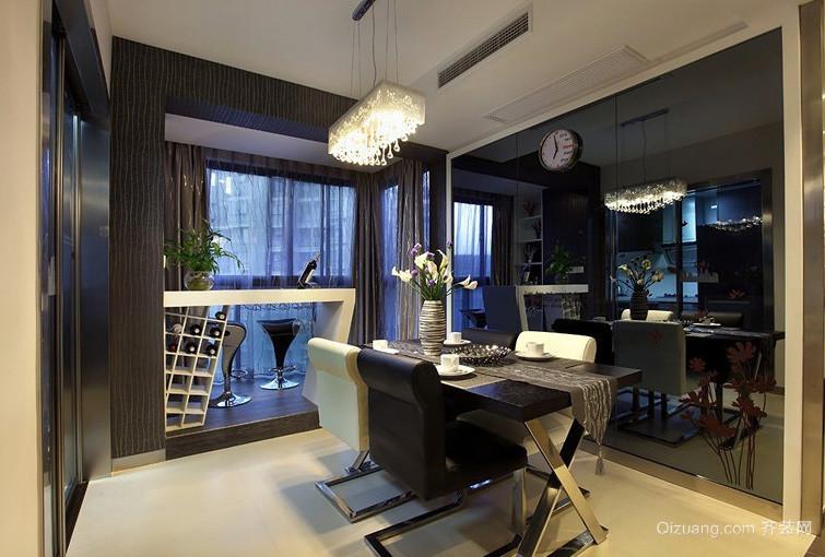 二居室深色调吧台设计装修效果图